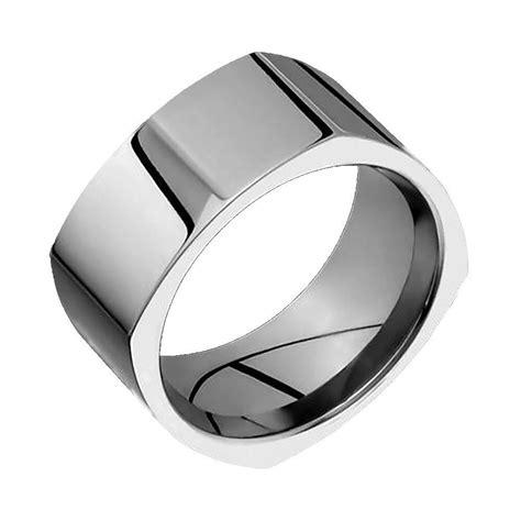 Square Titanium Wedding Ring Comfort Fit Polished 10mm
