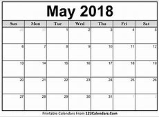 Printable May 2018 Calendar Templates 123CalendarsCom