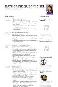 digital marketing intern resume sles visualcv resume
