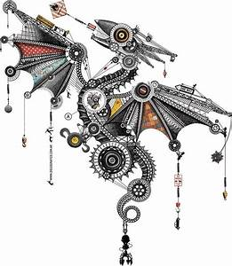 Mechanical Dragon Illustration By Diego Mazzeo   U0026quot Vuelo