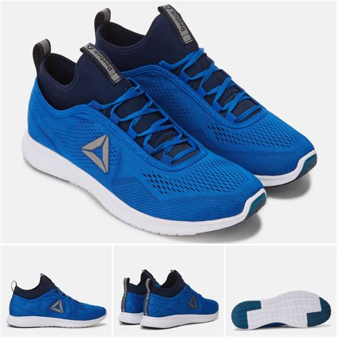 jual size 42 original asli reebok plus runner tech biru sepatu lari running fitness not