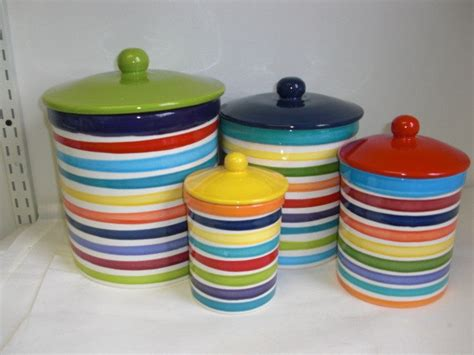 colored kitchen canisters set of 4 rainbow and white bright stripes ceramic kitchen