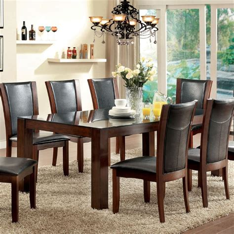 Furniture of America Wagne Tempered Glass Dining Table in