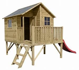 Cabane En Bois Pour Enfant : cabane en bois luka avec toboggan rouge oogarden france ~ Dailycaller-alerts.com Idées de Décoration