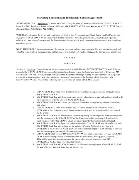 Sales Consultant Contract Template by Marketing Consulting And Independent Contract Agreement