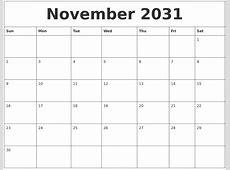 November 2031 Printable Calendar Free