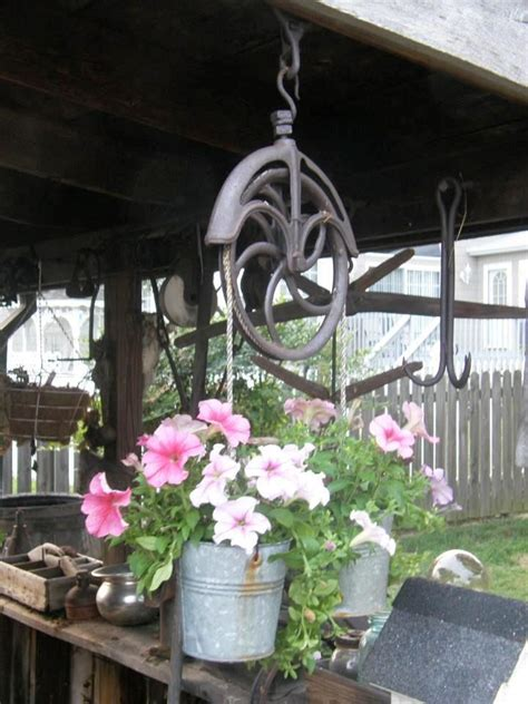Old Well Pulley Bucket Planter Garden Landscaping