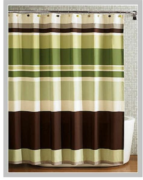 Green And Brown Shower Curtains by Green Stripes Fabric Shower Curtain Ebay