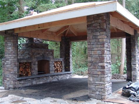 Outdoor Fireplace, Patio, Stone, Covered Patio, Outdoor