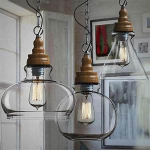 Northic wood cap and clear glass shade pendant lighting