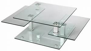 Table Basse Carrée En Verre : table basse carr e en verre 3 plateaux articul s table de salon design pas cher ~ Teatrodelosmanantiales.com Idées de Décoration
