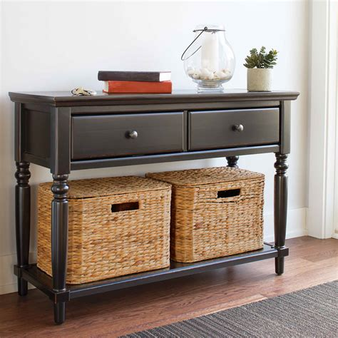 sofa table with baskets console table with baskets storage two drawers black color