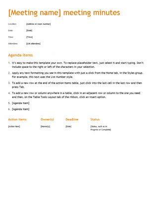 meeting minutes office templates