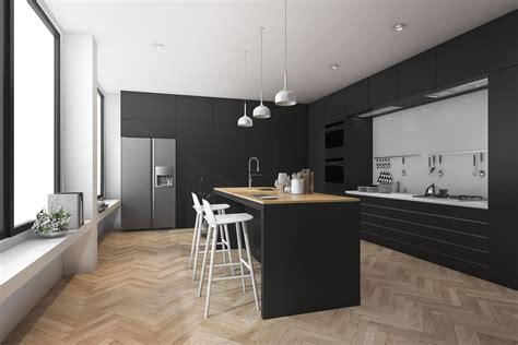 modern kitchen  dining room  wood floor  model
