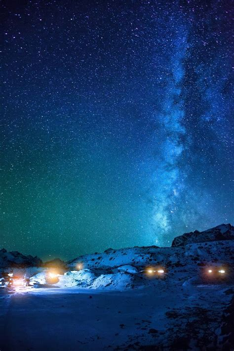 Wallpaper Landscape Night Sky Stars Milky Way