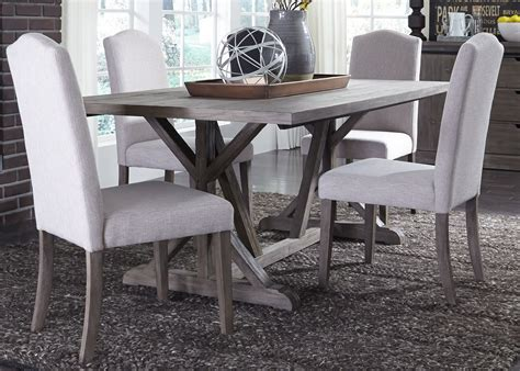 trestle dining table grey carolina lakes gray trestle dining room set from liberty 6376