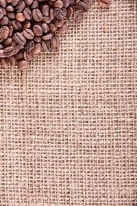 Coffee frame on canvas background - burlap jute fabric ...