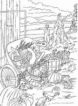Coloring Pages Adults Adult Country Scenery Farm Fall Scenes Books Dover Publications Printable Doverpublications Nature Sheets Print Harvest Creative Autumn sketch template