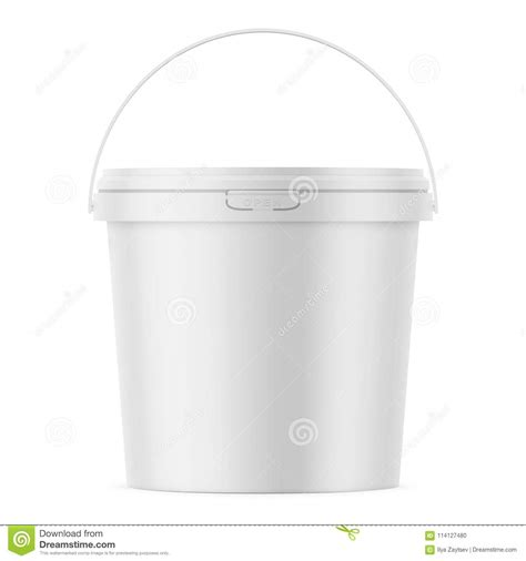 Sample design is not included in the download file. White Matte Plastic Bucket Mockup Template. Stock Vector ...