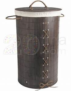Bac à Linge : bac linge sale rond en bambou noir ba003 pinces linge tendoirs paniers et cintres ~ Teatrodelosmanantiales.com Idées de Décoration
