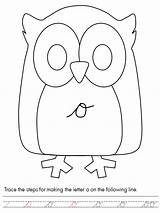 Coloring Script Letter Owl Lower Case Pages Template Owls sketch template