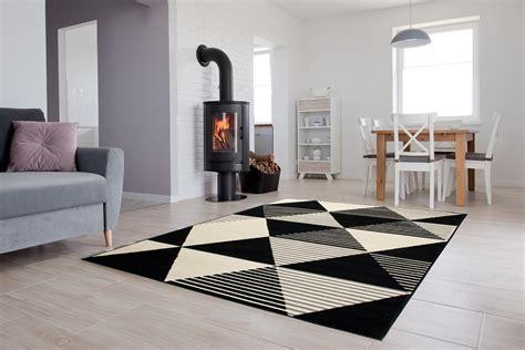 Dekoration Kurzflor Teppich Dreier Geometrisch Schwarz