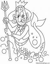 Coloring Mermen Commander Pages Merman sketch template