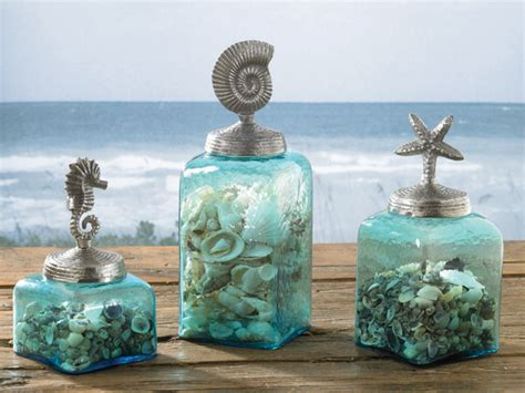 seahorse nautilus starfish square glass jars