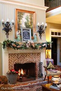 great country fireplace mantel style Southern Christmas Home Tour Part 1 | Fireplaces, Patterns ...