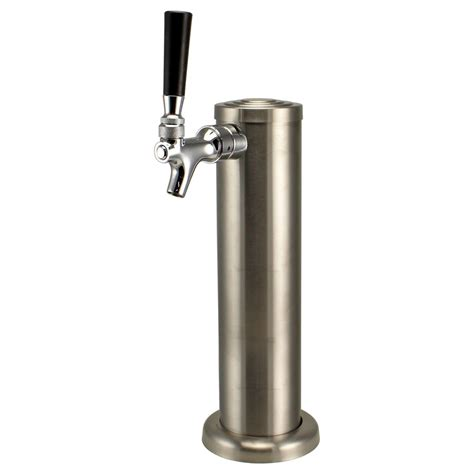 brushed stainless steel single tap beer tower