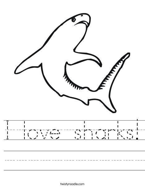 I Love Sharks Worksheet  Twisty Noodle