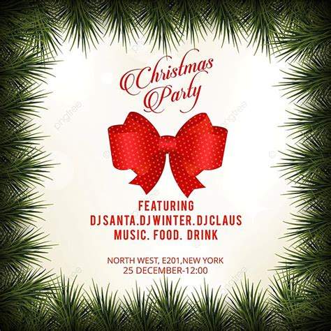Christmas Party Invitation Card With Border Background