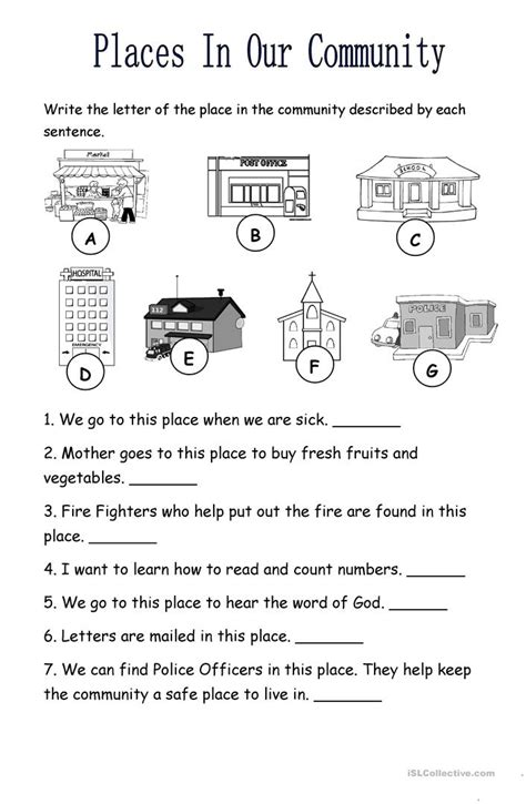 places in the community worksheet free esl printable