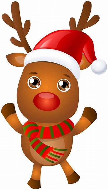 Reindeer Rudolph Clip Cartoon Santa Clipart Transparent