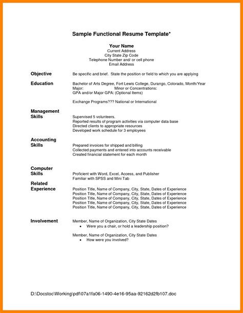Chronological Resume Sle Template by Chronological Resume Format Template