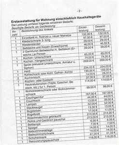Erstausstattung wohnung liste antrag auf erstausstattung for Erstausstattung wohnung liste