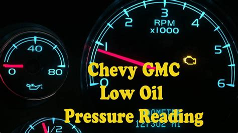 chevy gmc  oil pressure gauge reading youtube