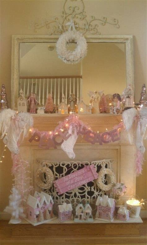 pink shabby chic christmas fireplace pictures
