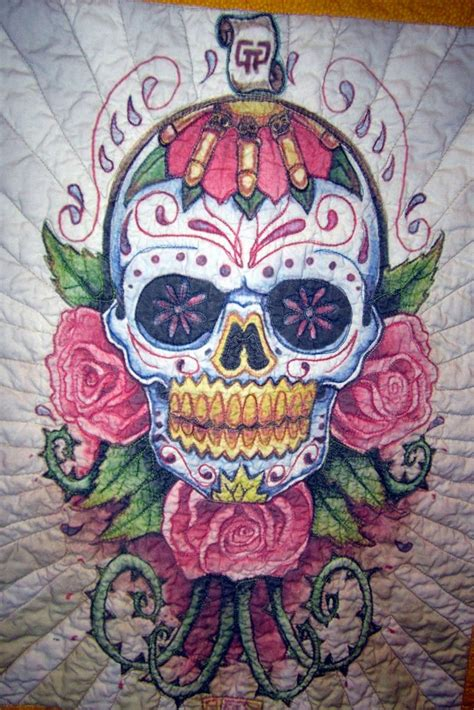 sugar skull quilt day of the dead sugar skull quilted wall hanging the