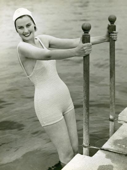 woman  bathing suit  swimming cap photographic print