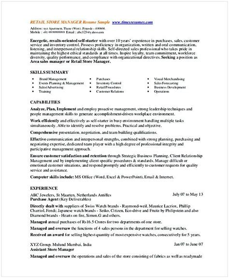 Resume For Retail Management Position by Retail Store Manager Resume Template Shannon Manager