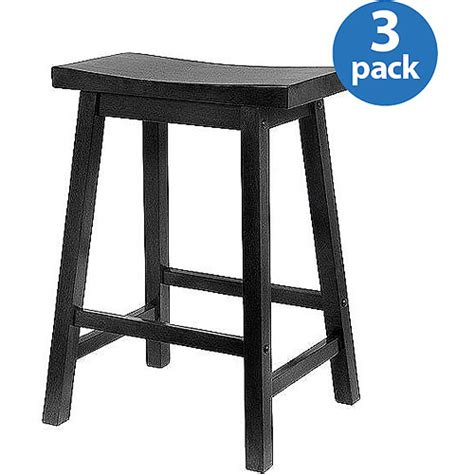 walmart bar stools saddle seat stool 24 quot set of 3 multiple finishes walmart com