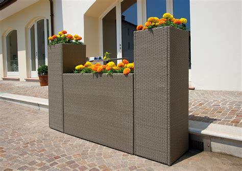 vasi in rattan sintetico fioriera verticale 40x40xh120 cm portavaso wicker rattan