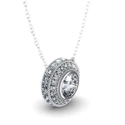 metal drop necklace 7 8 ctw bezel set halo necklace in 14k white gold