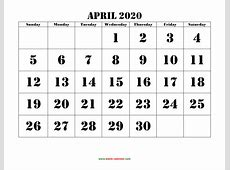 April 2020 Printable Calendar Free Download Monthly