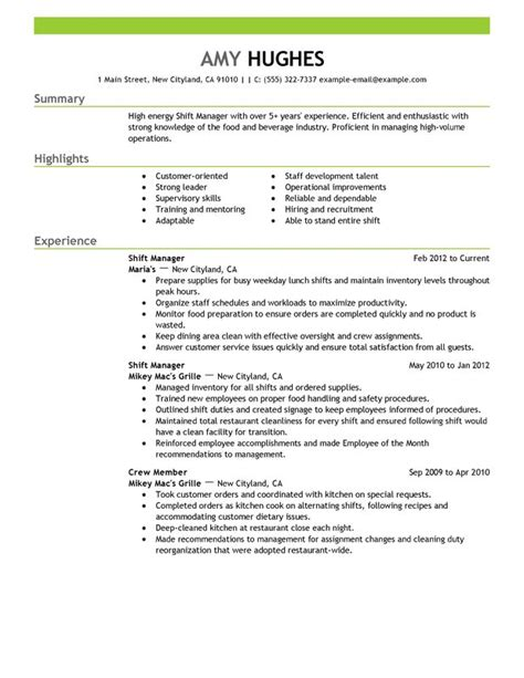 shift manager resume sle my resume