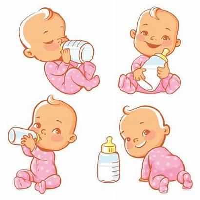 Bottle Milk Clip Vector Illustrations Newborn Feeding