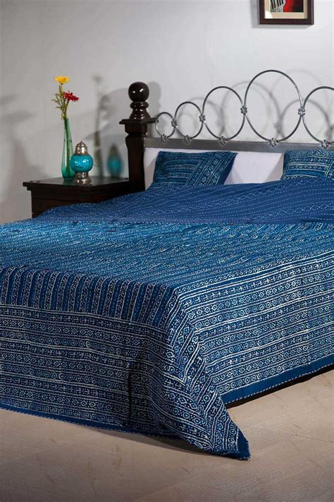 buy  kantha work cotton block print quilts quilts
