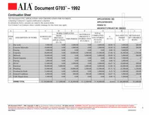 aia g703 sample fill online printable fillable blank With aia document g702 g703