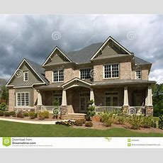 Luxury Model Home Exterior Stormy Weather Stock Image